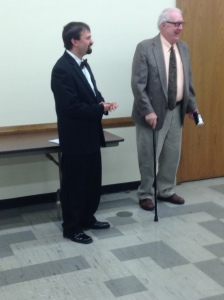 Brother Lewis receives his 50-Year Pin from Worshipful Master Bergstresser.